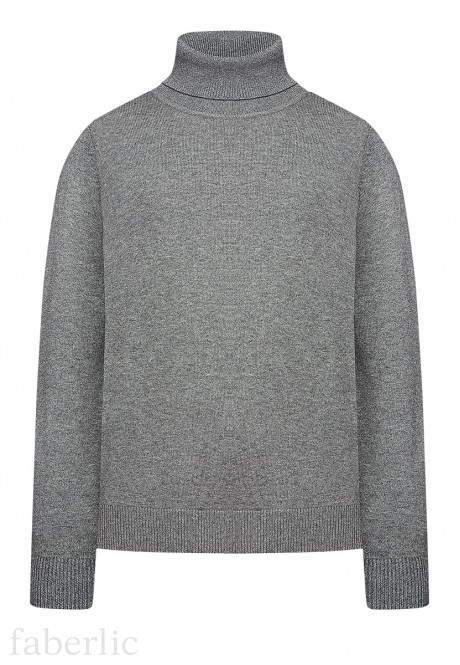 Boys High Collar Knit Jumper grey melange
