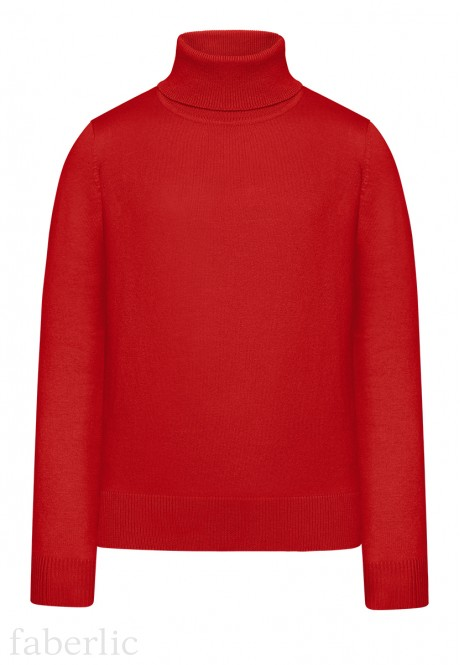 Girls High Collar Knit Jumper red