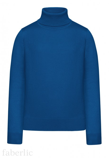 Girls High Collar Knit Jumper bright blue