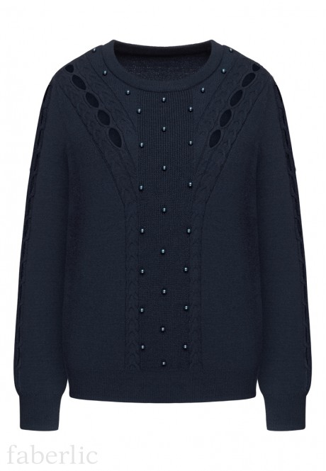 Cable Knit Jumper dark blue