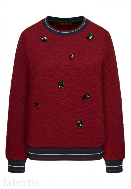 Quilted Bedazzled Sweatshirt burgundy