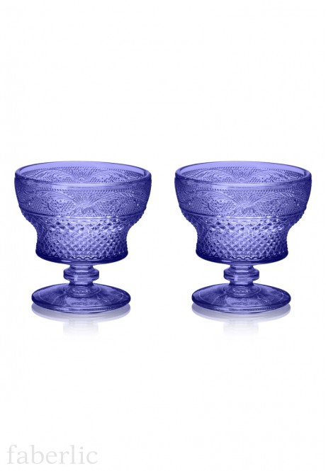 Glass Dessert Bowl 2 pcs set sapphire