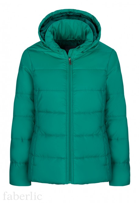 Insulated Quilted Coat cyan