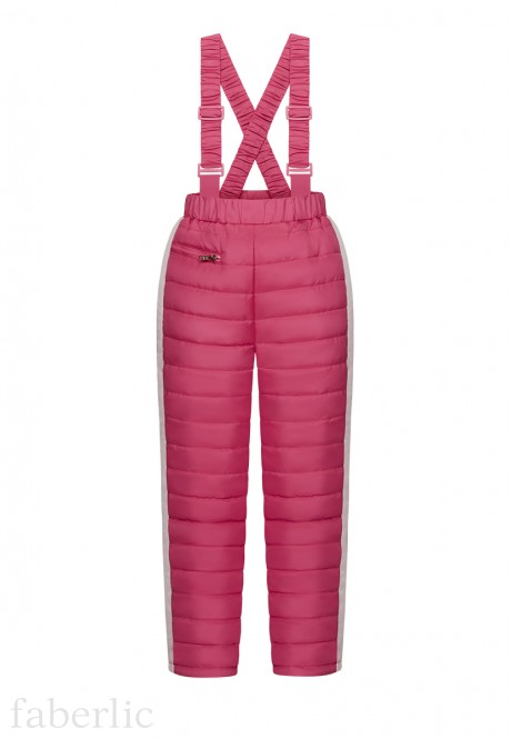 Girls Insulated Strapped Trousers red berry