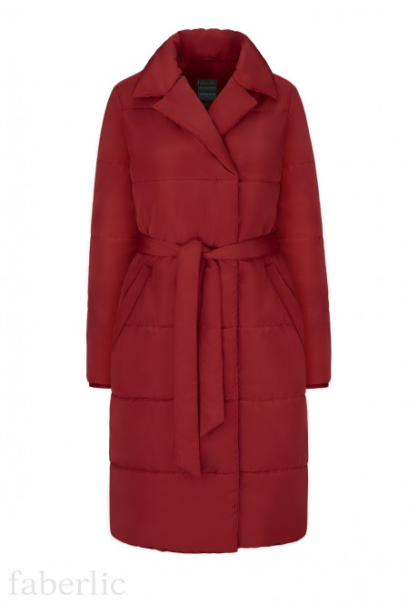 Insulated Quilted Coat dark red