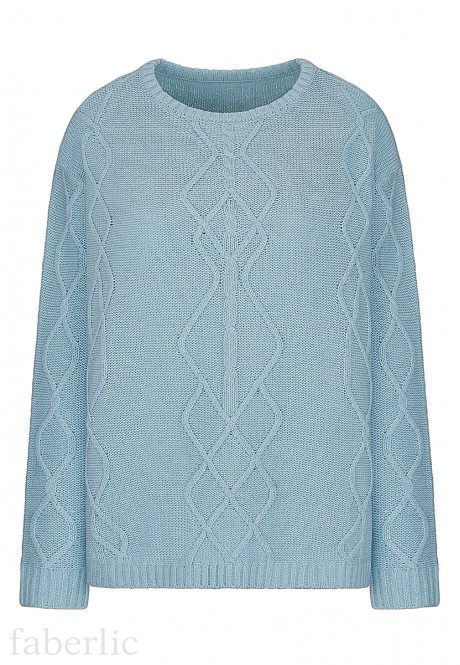 Cable Knit Jumper light blue