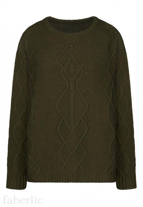 Cable Knit Jumper dark green