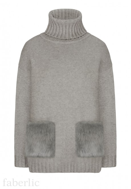 Faux Fur Pocket Jumper light grey melange