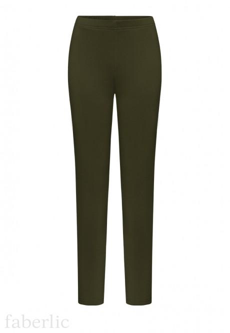 Siltinātas augumam pieguļošas bikses tumši zaļā krāsā
