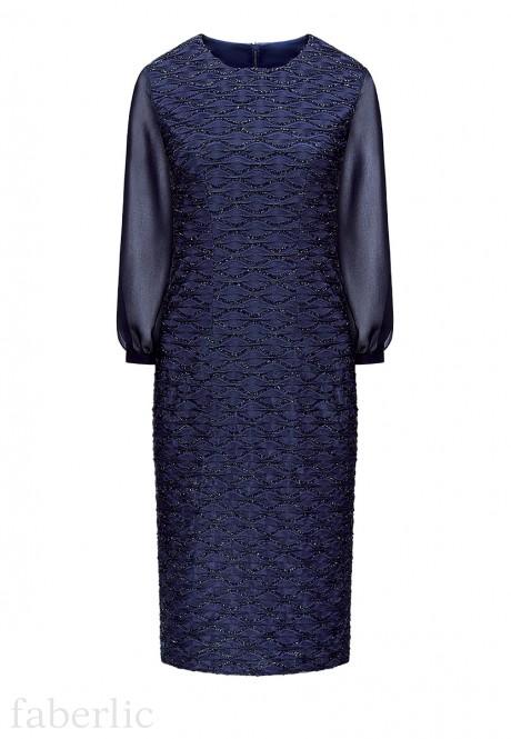 Fakturētas trikotāžas kleita sievietei tumši zilā krāsā