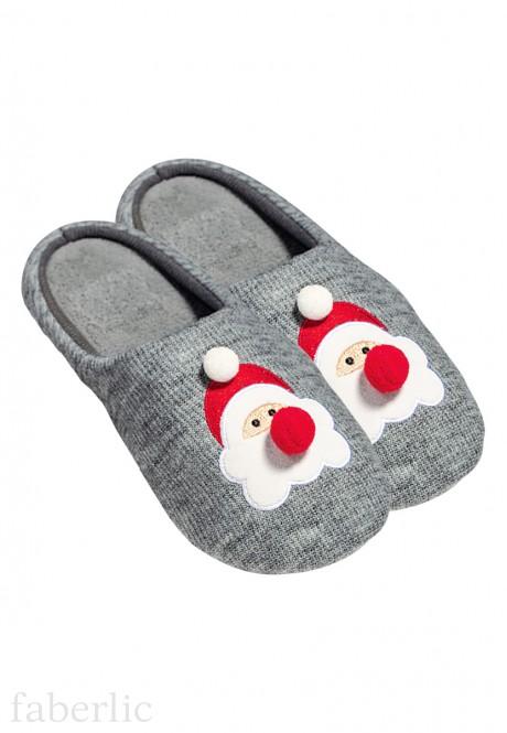 Тапочки женские Дед Мороз цвет серый меланж