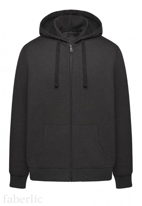 Long Sleeve Hoodie for men dark grey melange