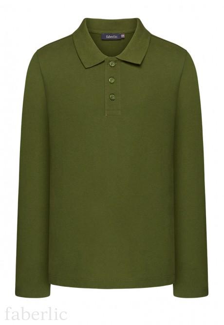 Light Jersey Polo Neck Jumper for boys dark green