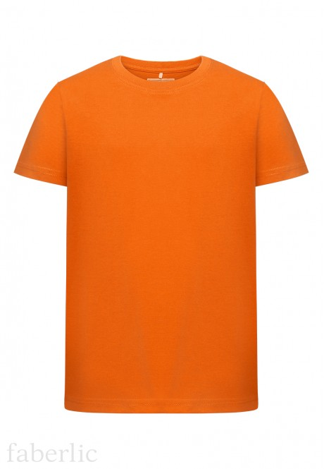 Трикотажная фуфайка с коротким рукавом для мальчика цвет оранжевый