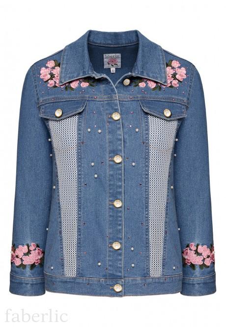 куртка из джинсовой ткани для женщины цвет голубой