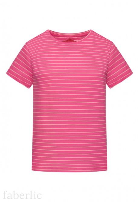Трикотажная фуфайка с коротким рукавом для женщины цвет розовый