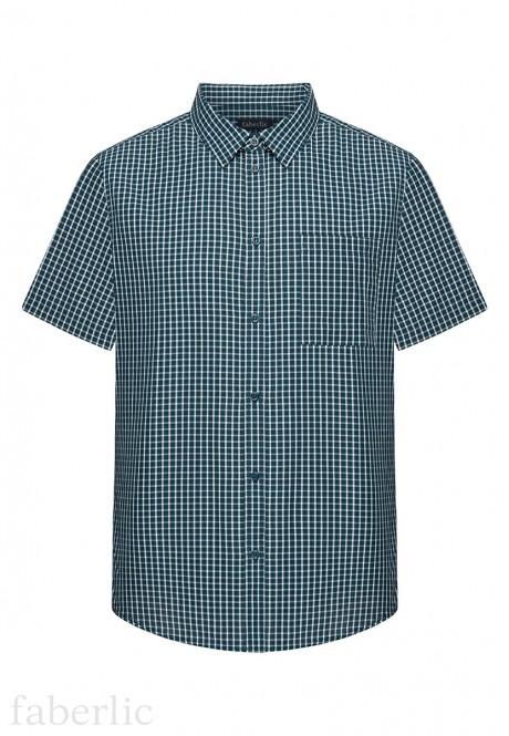 Рубашка в клетку для мужчины цвет темносиний