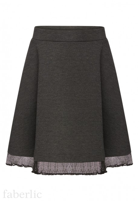 Girls Jersey Skirt dark grey melange
