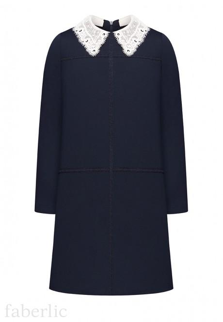 Girls Long Sleeve Jersey Dress ink blue