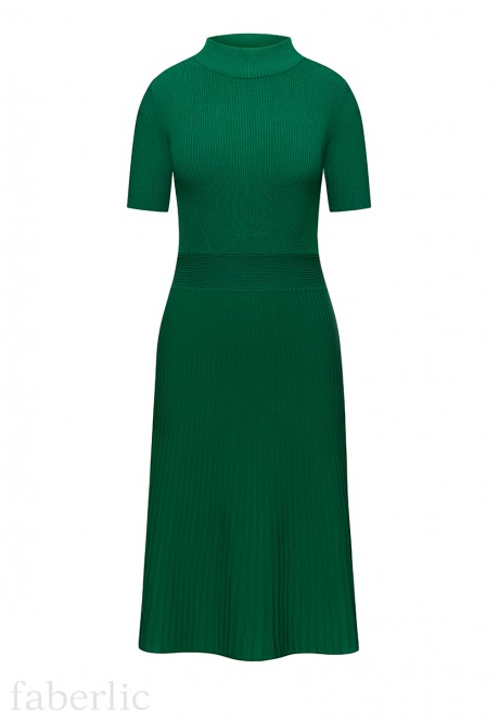 Cropped Sleeve Jersey Dress emerald
