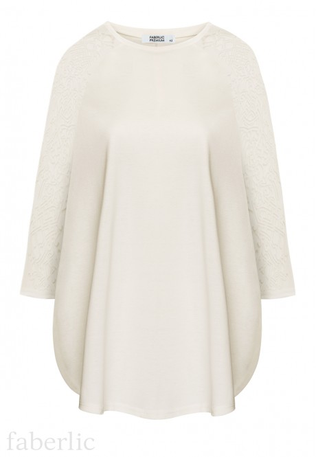 Cropped Sleeve Jersey Jumper milk