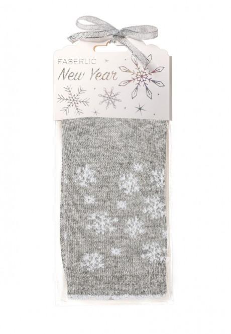 Snowflakes Wool Socks in gift packaging grey