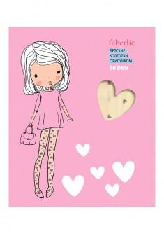 Колготки детские с рисунком Сердечки плотность 50 den цвет ваниль