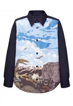 Рубашка с длинным рукавом для мальчика цвет темносиний