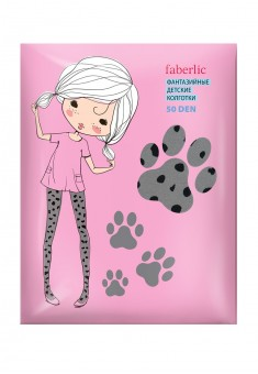 Leopard patterned tights for kids 50 DEN grey