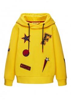 136B2502 Trikotāžas džemperis ar kapuci zēnam dzeltenā krāsā