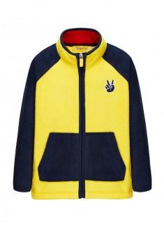 136B2503 Flīsa trikotāžas jaka zēnam dzeltenās un tintes krāsas kombinācija