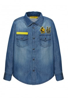 Рубашка из джинсовой ткани с длинным рукавом для мальчика цвет синий