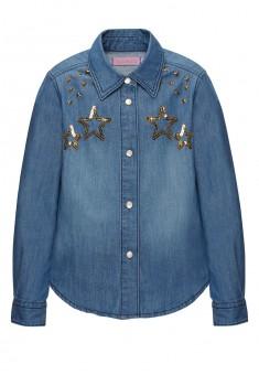 Блузка из джинсовой ткани для девочки цвет синий