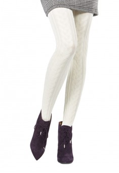 Cable Patterned Tights 100 denier Vanilla