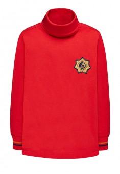 146B2901 Džemperis ar augstu apkakli zēnam piesātināti sarkanā krāsā