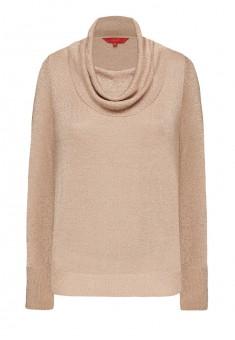146W2301 Sieviešu adīts džemperis ar lureksu bēšā krāsā
