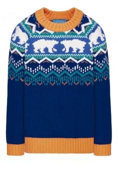 156B2302 Adīts džemperis zēnam zilā krāsā