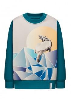 156B2501 Trikotāžas džemperis zēnam smaragda krāsā ar apdruku