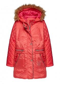 Куртка утепленная с отделкой искусственным мехом для девочки цвет малиновый