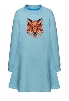 Трикотажное платье с длинным рукавом для девочки цвет небесноголубой