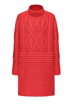 Трикотажное платье с длинным рукавом для девочки цвет малиновый