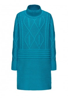 Трикотажное платье с длинным рукавом для девочки цвет бирюзовый