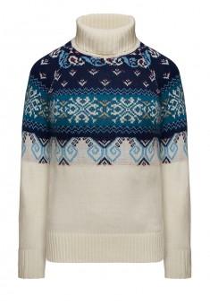 156W2301 Adīts sieviešu džemperis piena krāsā ar etniskā stilā veidotu rakstu