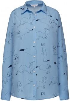 Блузка с длинным рукавом цвет небесноголубой