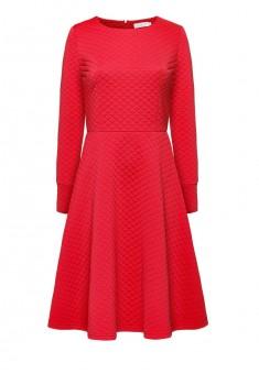 Трикотажное платье с длинным рукавом цвет клюквенный