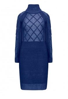 Трикотажное платье с длинным рукавом цвет тёмносиний