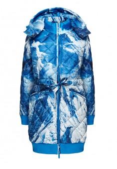 Пальто утепленное для женщины цвет небесноголубой