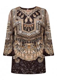 Трикотажная блузка с рукавом 34 цвет коричневый
