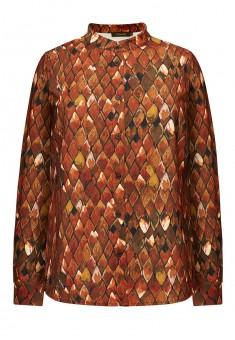 Блузка с длинным рукавом цвет коричневый