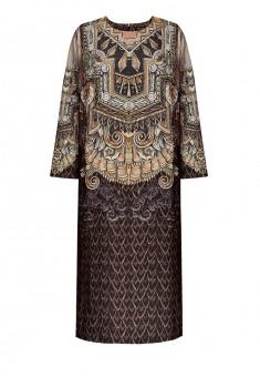 Платье с рукавом 34 цвет коричневый
